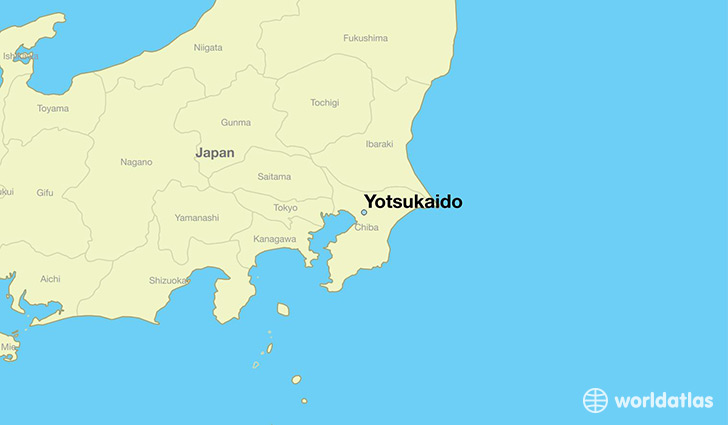 map showing the location of Yotsukaido