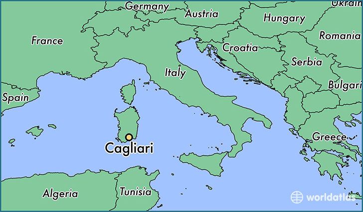 map showing the location of Cagliari