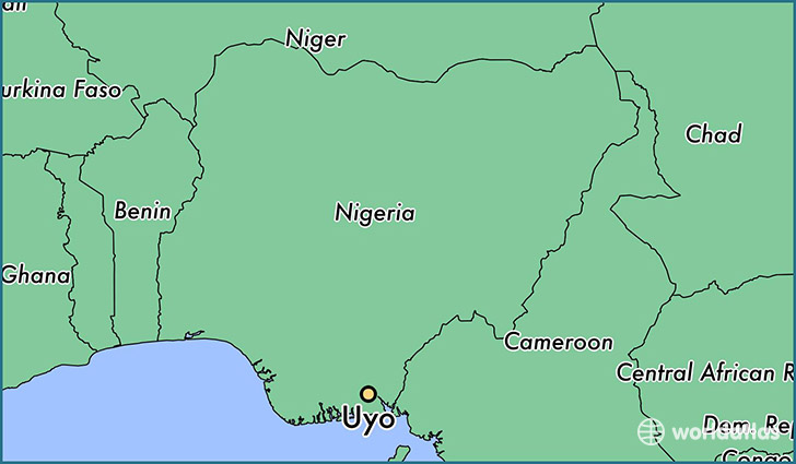 map showing the location of Uyo