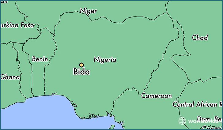 map showing the location of Bida