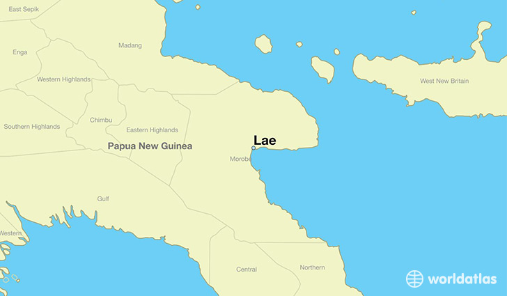 map showing the location of Lae