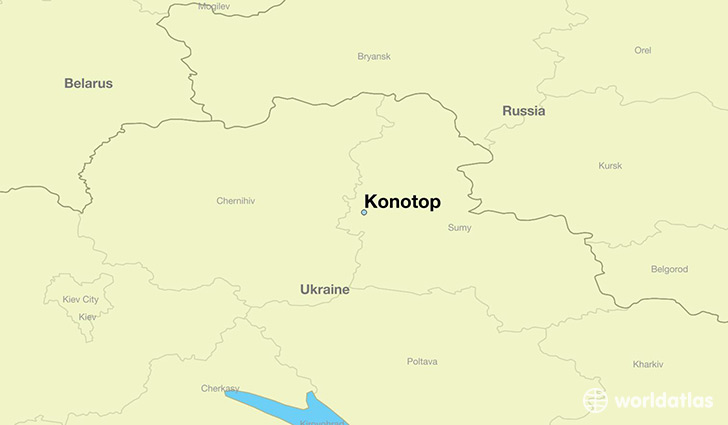 map showing the location of Konotop