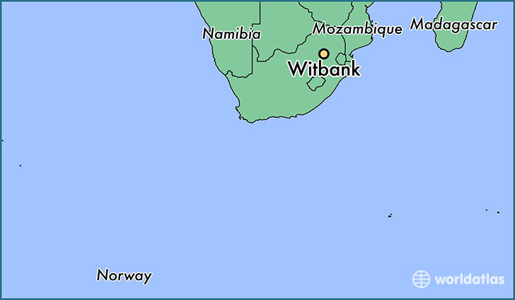 map showing the location of Witbank