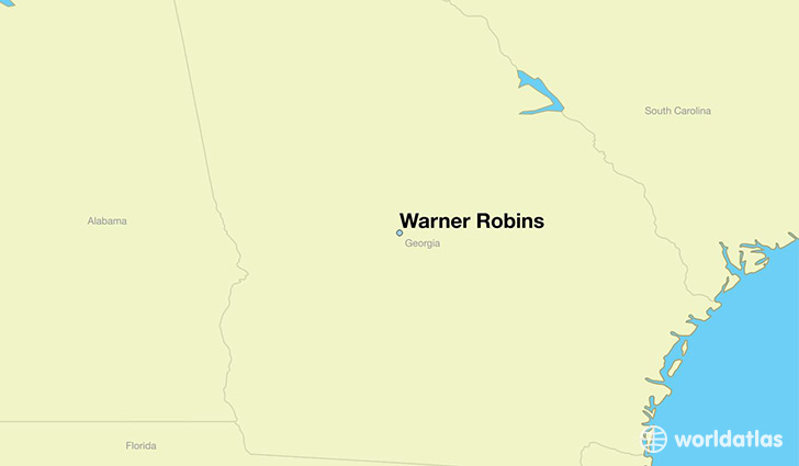 map showing the location of Warner Robins