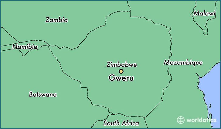 map showing the location of Gweru