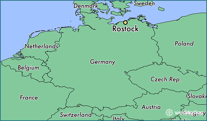 map showing the location of Rostock
