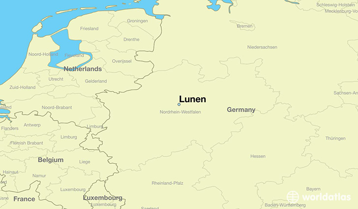 map showing the location of Lunen