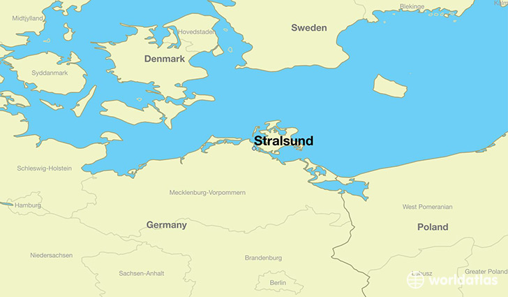 map showing the location of Stralsund