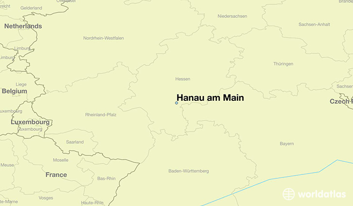 map showing the location of Hanau am Main