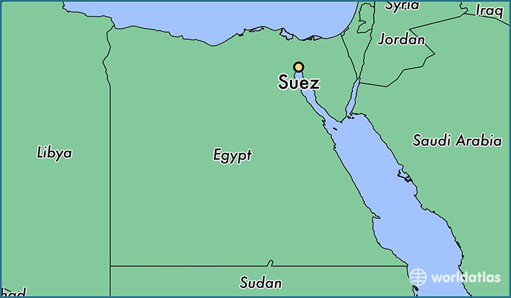 map showing the location of Suez