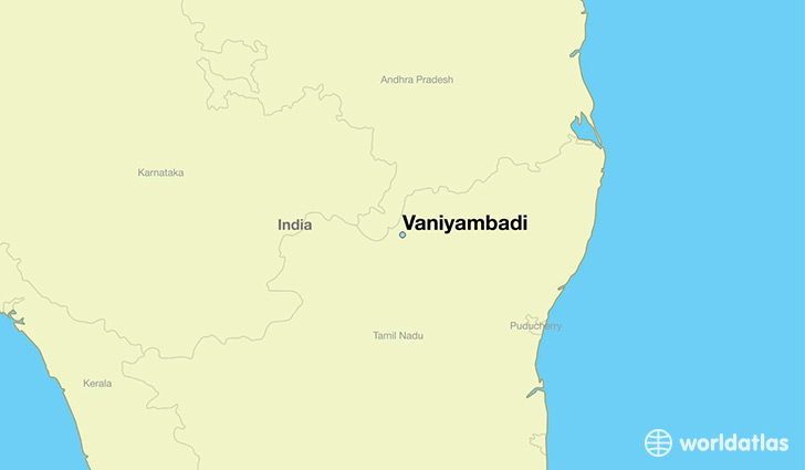 map showing the location of Vaniyambadi