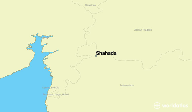 map showing the location of Shahada
