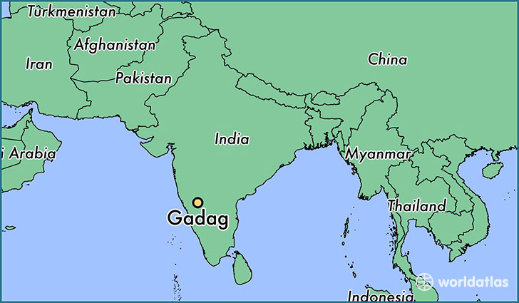 map showing the location of Gadag