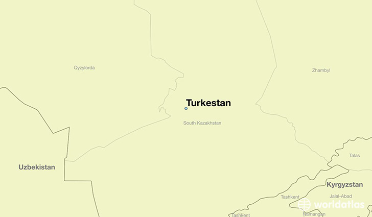 map showing the location of Turkestan