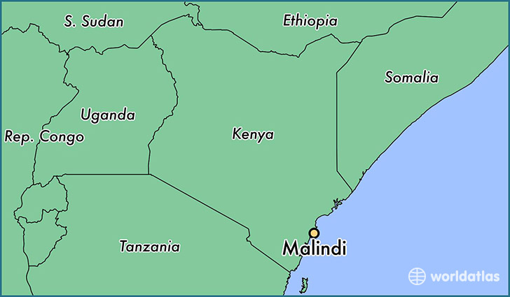 map showing the location of Malindi