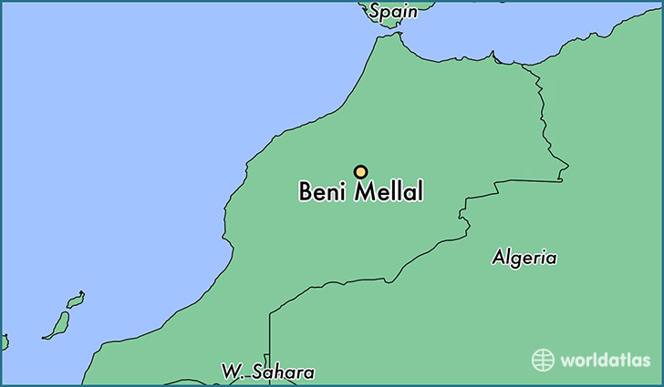 map showing the location of Beni Mellal