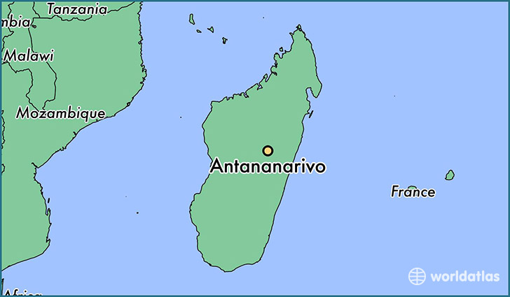 map showing the location of Antananarivo