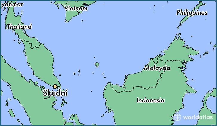map showing the location of Skudai