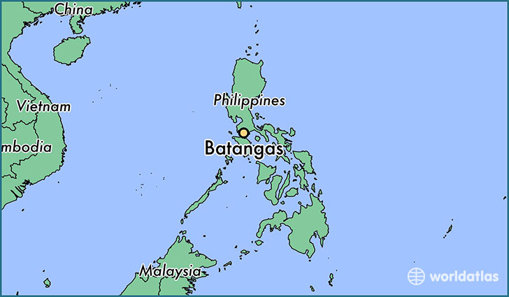 map showing the location of Batangas