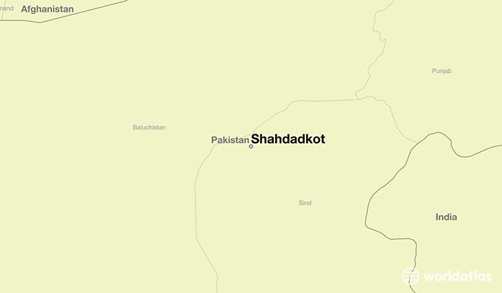 map showing the location of Shahdadkot