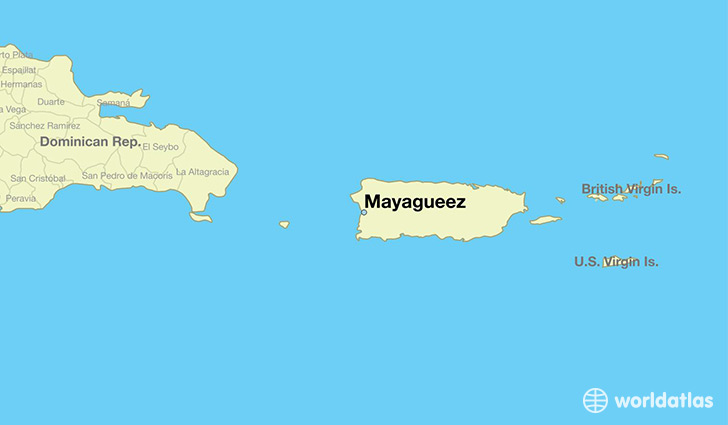 map showing the location of Mayagueez