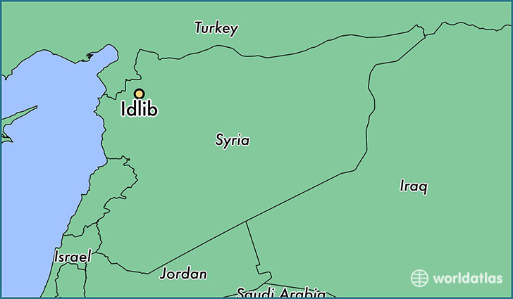 map showing the location of Idlib