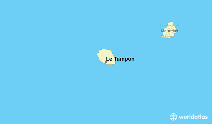 map showing the location of Le Tampon