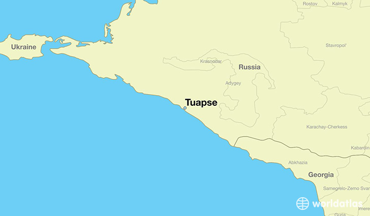 map showing the location of Tuapse