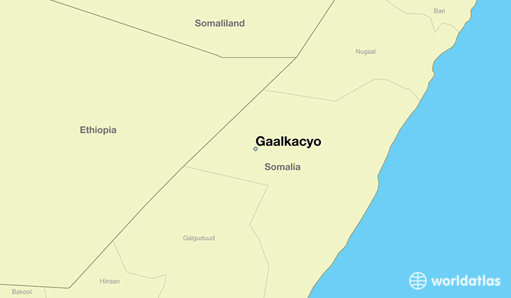 map showing the location of Gaalkacyo