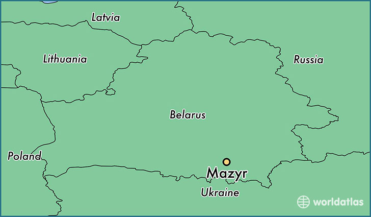 map showing the location of Mazyr