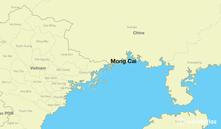 map showing the location of Mong Cai