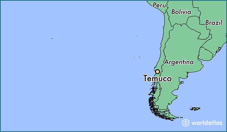 map showing the location of Temuco