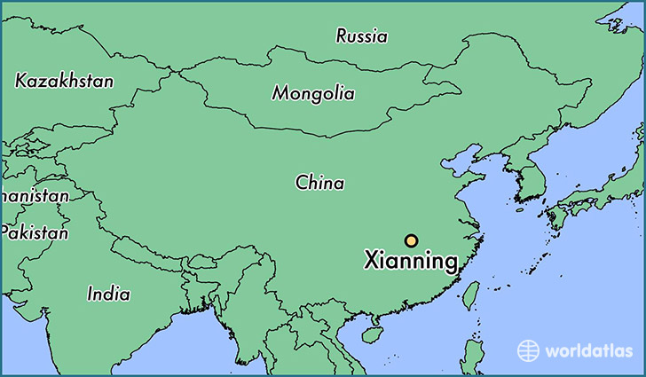 map showing the location of Xianning