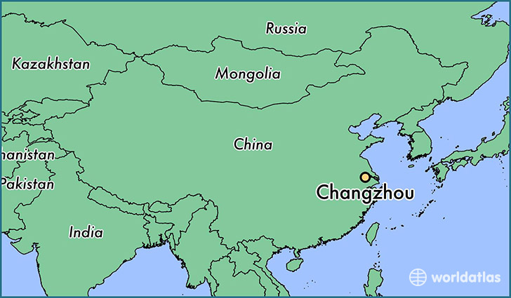 map showing the location of Changzhou