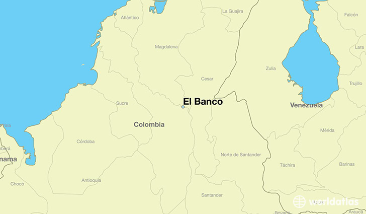 map showing the location of El Banco