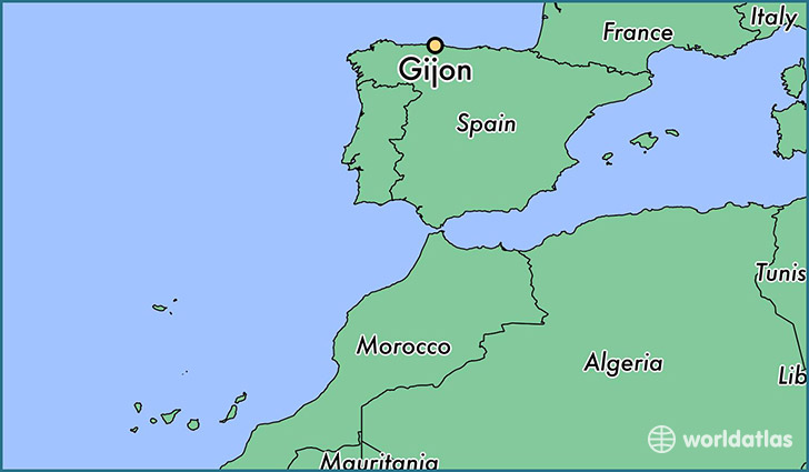 map showing the location of Gijon