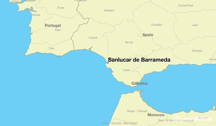 map showing the location of Sanlucar de Barrameda