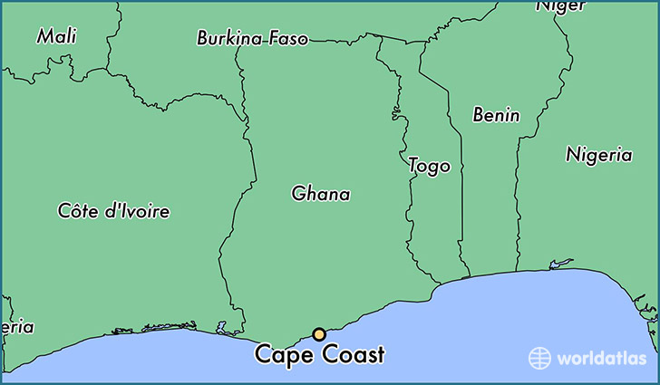 map showing the location of Cape Coast