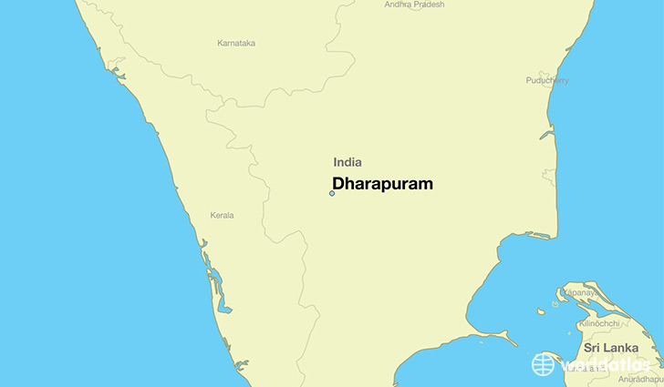 map showing the location of Dharapuram