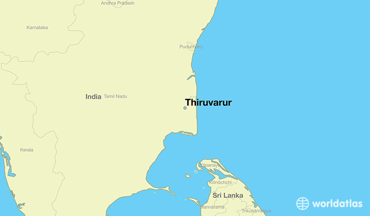 map showing the location of Thiruvarur