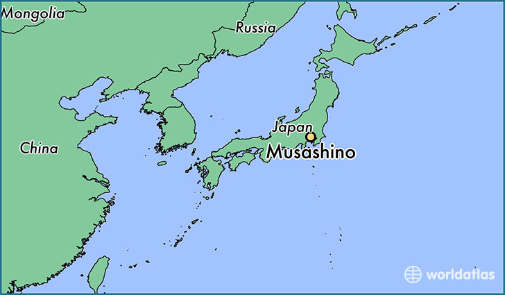 map showing the location of Musashino