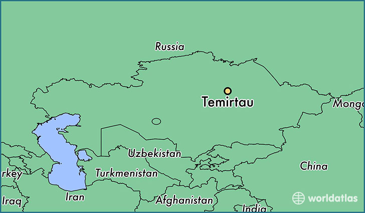map showing the location of Temirtau