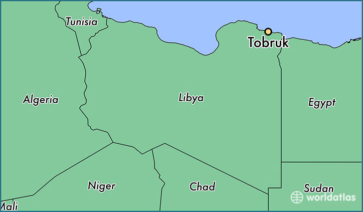 map showing the location of Tobruk