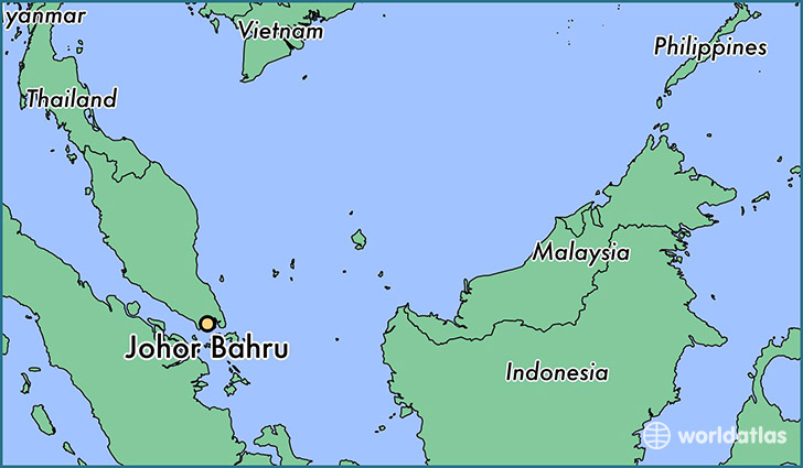 map showing the location of Johor Bahru