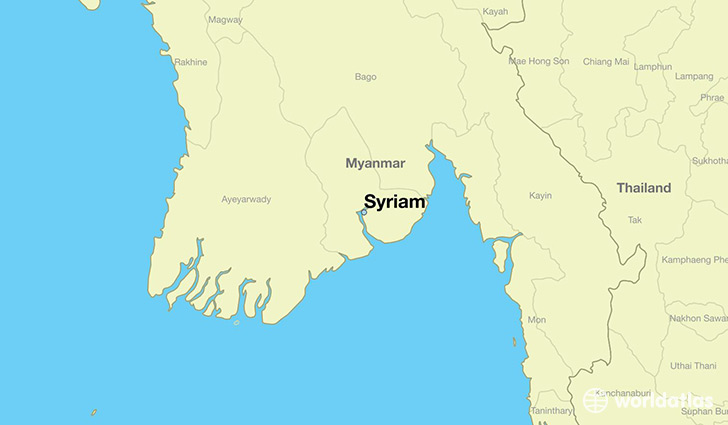 map showing the location of Syriam