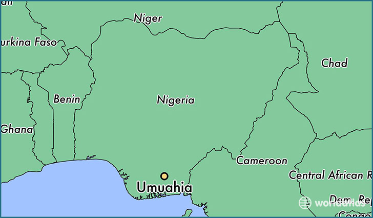 map showing the location of Umuahia
