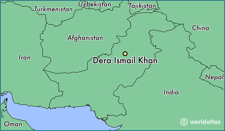 map showing the location of Dera Ismail Khan