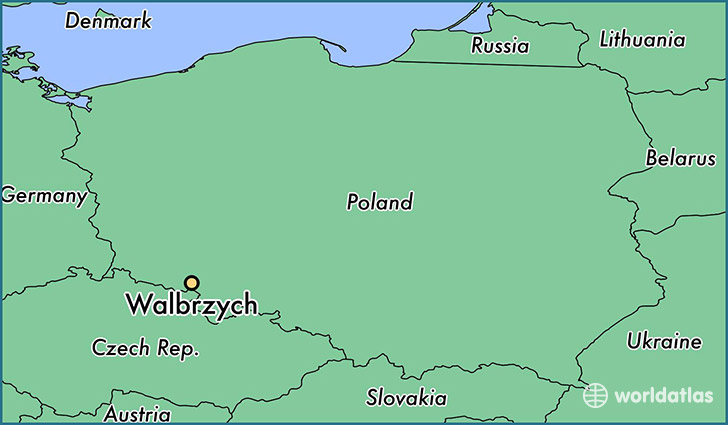 map showing the location of Walbrzych