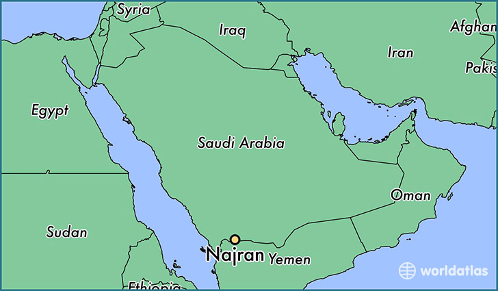 map showing the location of Najran