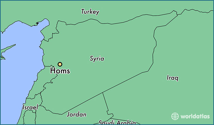 map showing the location of Homs